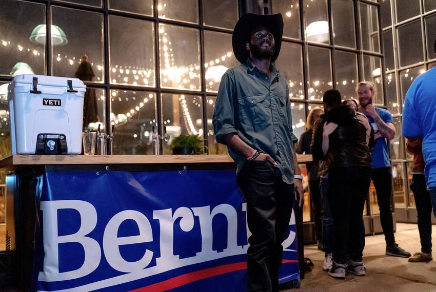 At a Bernie Sanders Super Tuesday Watch Party in Austin, Neal Whetstone of Austin watches as Joe Biden takes the lead in T...