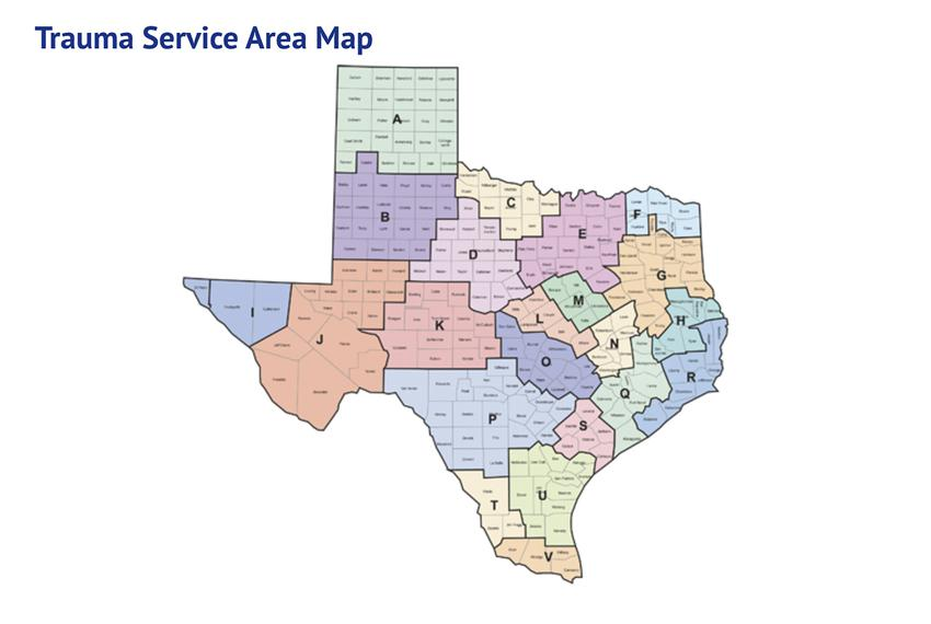 A map of the trauma service area of the state.