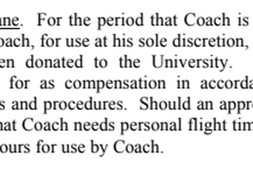 Screenshot of head football coach Thomas Herman's contract with the University of Texas at Austin, for the term beginning December 22, 2016. It was provided to The Texas Tribune through an open records request.