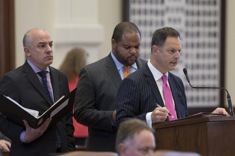 State Rep. Rafael Anchia, D-Dallas,asks questions about Senate Bill 5, the voter ID bill, which has been declared an emergency item by Gov. Abbott, on May 23, 2017.