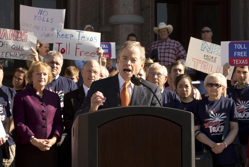 State Sen. Don Huffines, R-Dallas, speaks during an anti-toll road rally at the Texas Capitol on March 23, 2015.