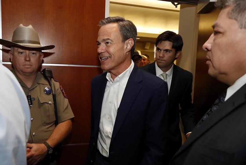 House Speaker Joe Straus emerges from a House Republican caucus meeting at the Reagan building in Austin on Aug. 15, 2017.