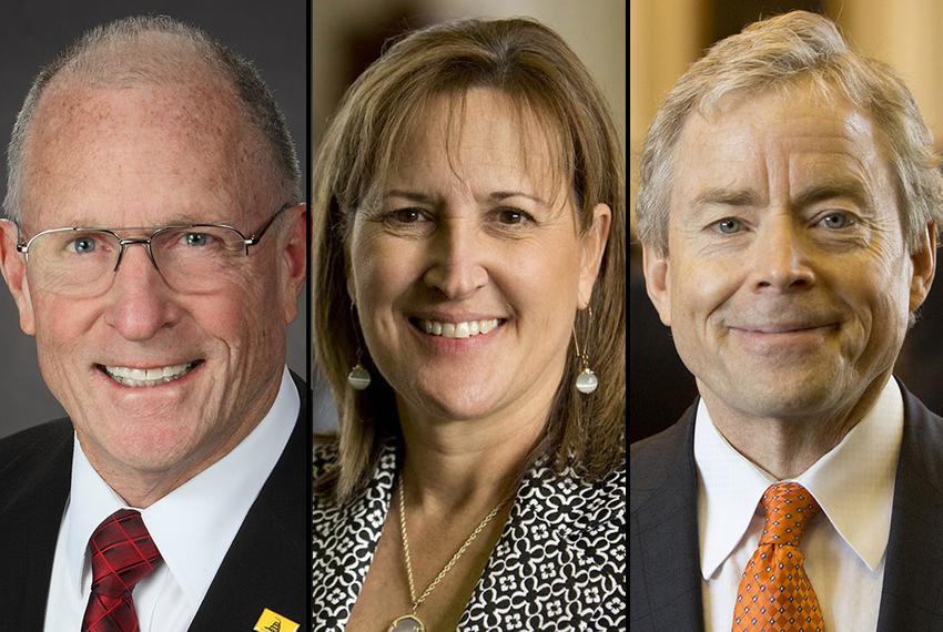 The three senators who sent the fewest bills to Gov. Greg Abbott's desk this session: Bob Hall, R-Edgwood (left), Konni Bu...
