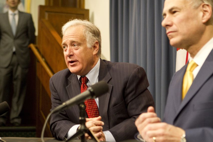 Sen. Kirk Watson D-Austin and Attorney General Greg Abbott, announce legislation to modernize the Texas Open Meetings Act on March 7th, 2013