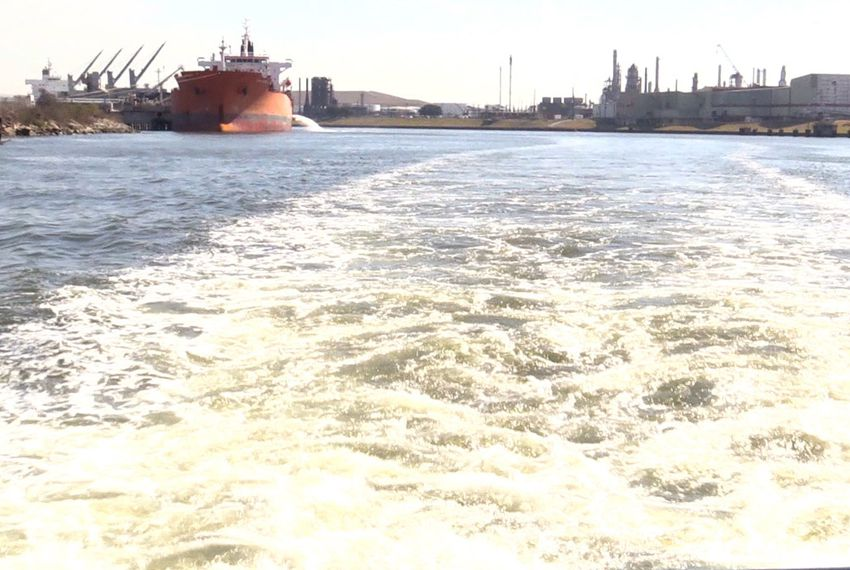 A view of the Houston Ship Channel from the back of the Sam Houston tour boat in Feb. 2014.