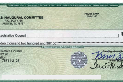 "This check from from the Texas Inaugural Committee was obtained under transparency laws from the Texas Legislative Council. An invoice says the check paid for stage setup, labor, printing, supplies and a ""Capital Extension Load Test Review."