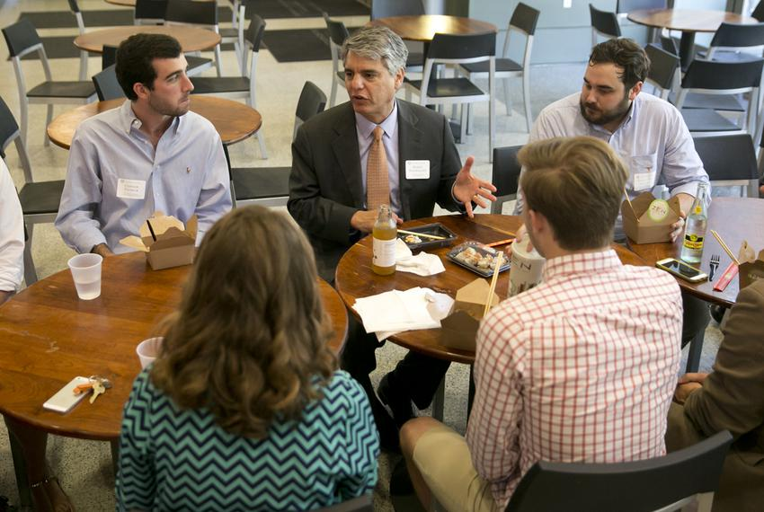 President of the University of Texas at Austin, Gregory Fenves, enjoys lunch with UT students at the student activity cent...