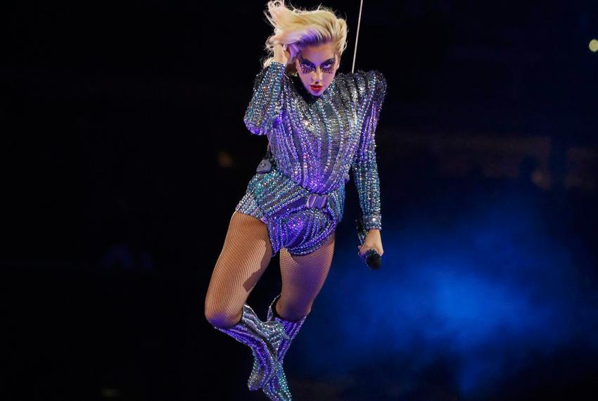 Singer Lady Gaga performs during the halftime show at Super Bowl LI between the New England Patriots and the Atlanta Falco...