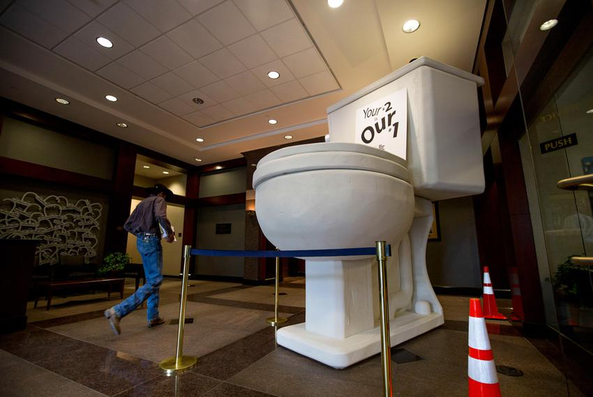 The lobby of San Antonio Water System headquarters in San Antonio, featuring an 11-foot model of a low-flow toilet.