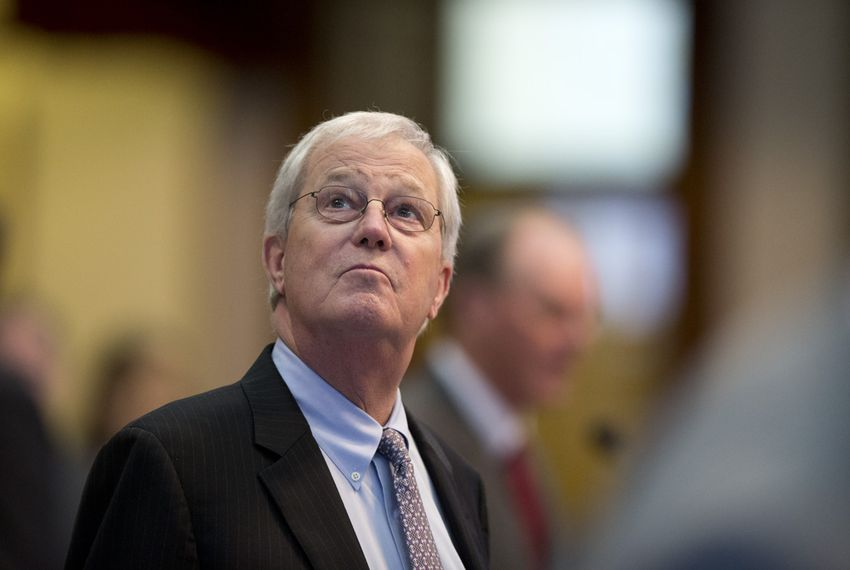 State Rep. Charlie Geren, R-Ft. Worth, chairman of the House Administration Committee, looks toward the gallery while House members watch severe weather during debate on May 25, 2015.