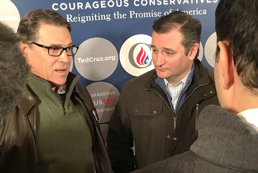 Former Gov. Rick Perry and U.S. Sen. Ted Cruz spoke to reporters on Jan. 26, 2016, in Albia, Iowa. Perry, a former 2016 ca...
