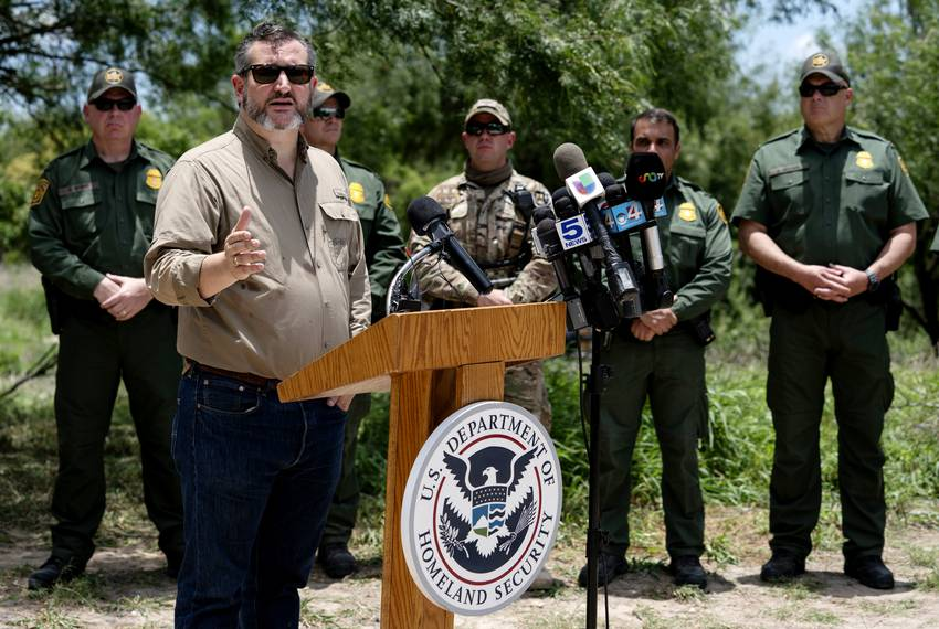 Sen. Ted Cruz speaks during the annual Border Safety Initiative Conference held close to the Rio Grande near Mission, on M...