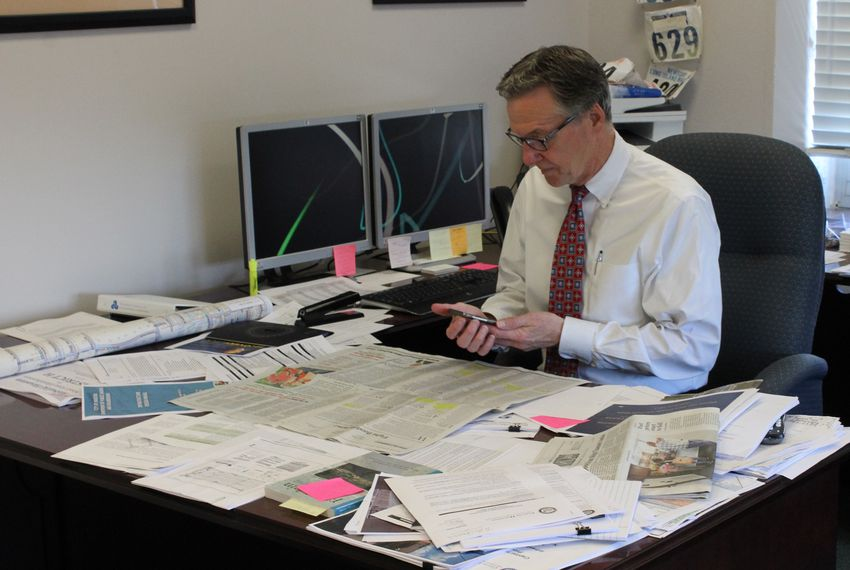 "Houston ""flood czar"" Stephen Costello in his office on Sept. 12, 2017."