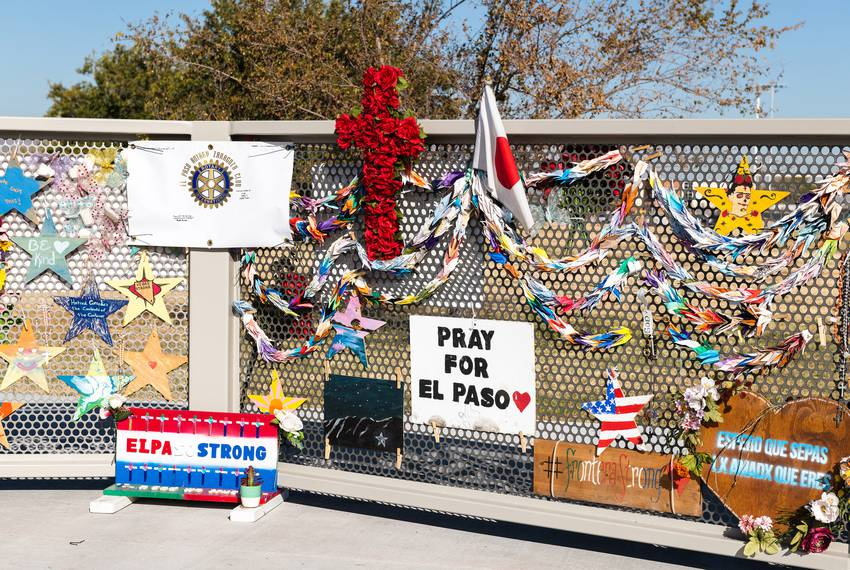 A temporary monument for the victims of the August 3rd mass shooting at WalMart has been constructed by the city of El Pas...