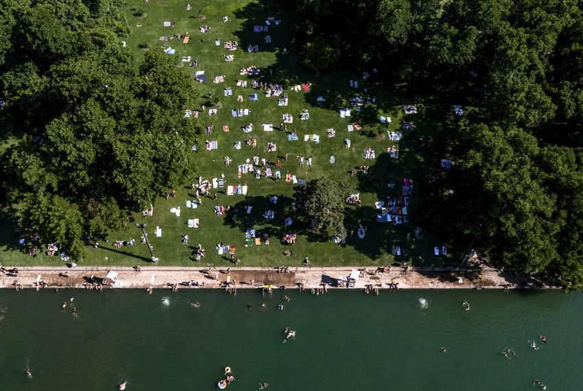 A crowd at Barton Springs Pool in downtown Austin on Friday, June 11, 2021.