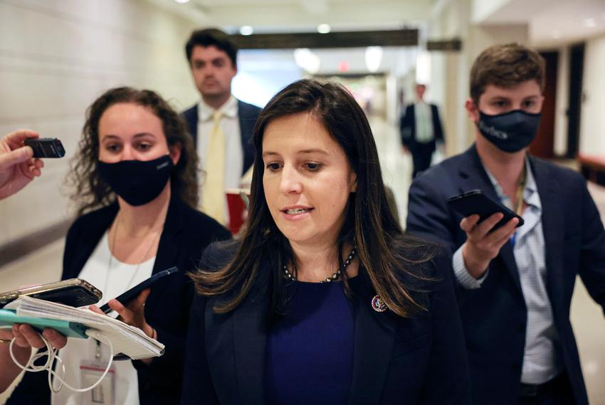 U.S. Representative Elise Stefanik, R-New York, spoke to members of the media as she left a House Republican Caucus candidat…