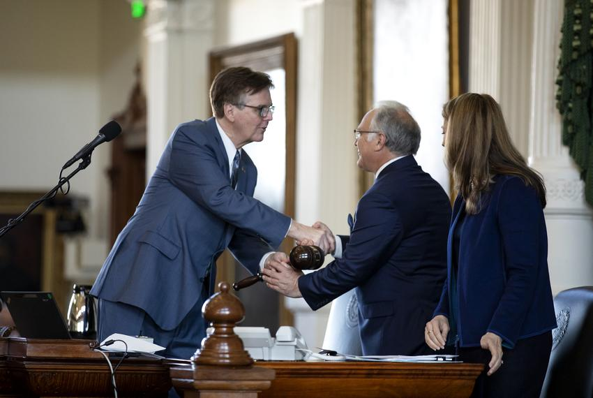 Senator Kirk Watson, who was recently elected Senate President Pro Tempore, receives a senate gavel from Lieutenant Governor…