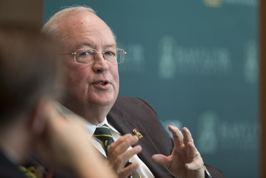 Baylor University President and Chancellor Ken Starr speaks during The Texas Tribune's symposium on higher education on No...