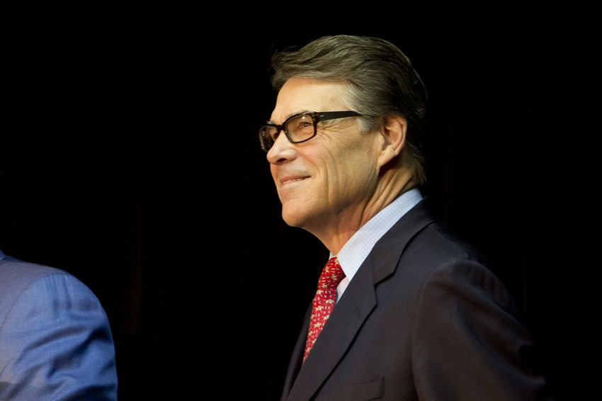 Former Gov. Rick Perry during a press conference with his legal team on Jan. 28, 2015.