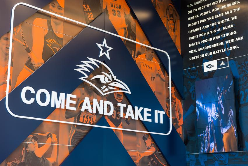 """The """"Come and Take It"""" flag and motto are part of the  University of Texas at San Antonio's athletics program."""