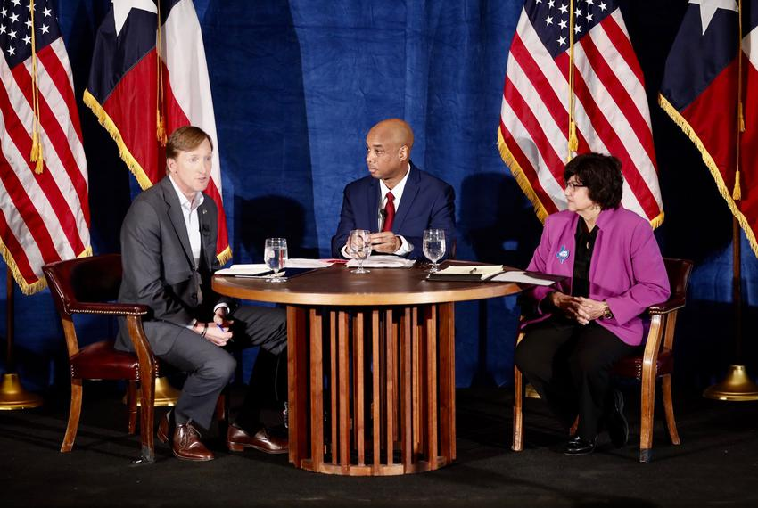 Democratic candidates for governor Andrew White (left) and Lupe Valdez (right) hold a debate at St. James Episcopal Church i…