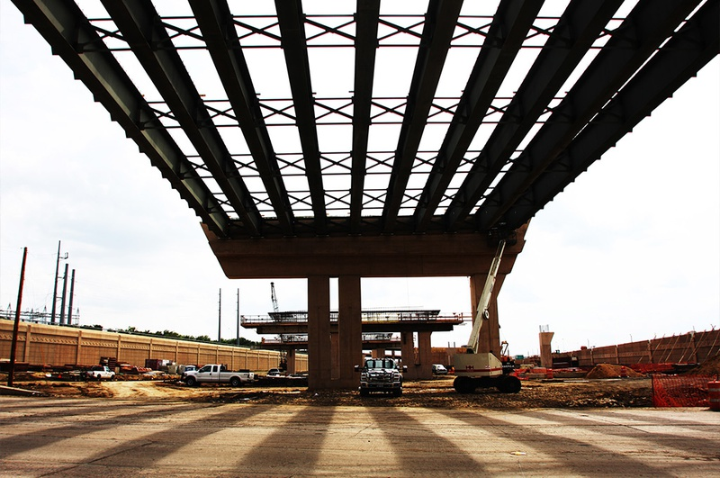 Part of the elevated section of Chisholm Trail Parkway that is under construction near downtown Fort Worth TX.