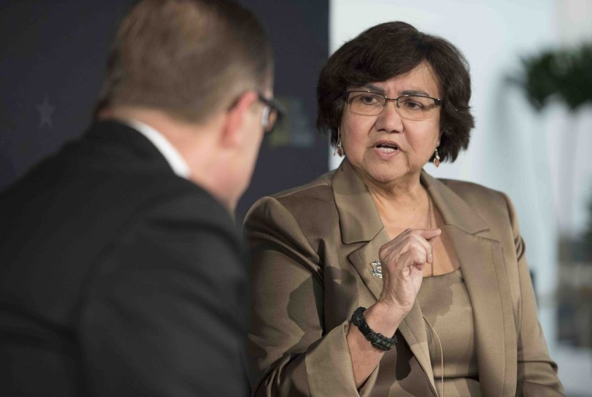 Former Dallas Co. sheriff Lupe Valdez makes a point in conversation with Evan Smith during a Texas Tribune event at Capital Factory on Jan. 18, 2018. Valdez, who has three decades of experience in law enforcement, is challenging principal opponent Andrew White in the Democratic primary.