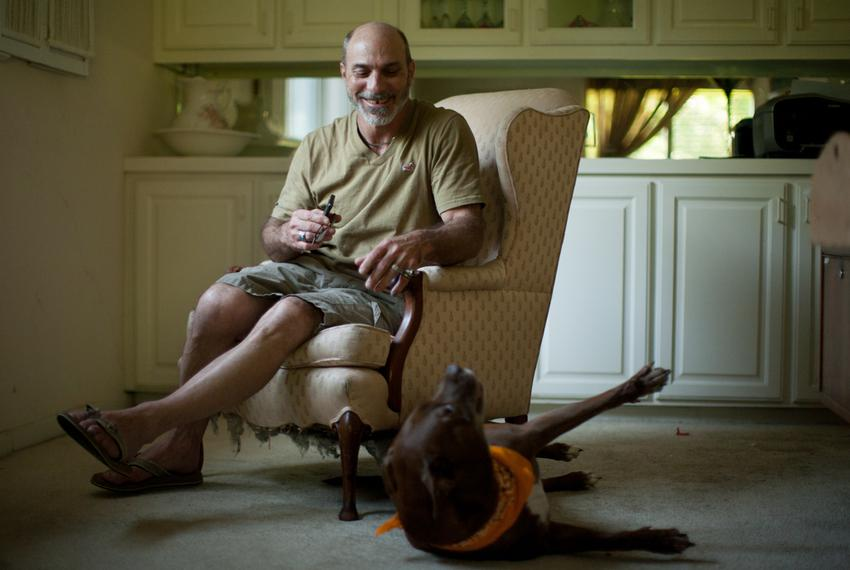 Steven Phillips photographed in his home in Farmers Branch, Texas.
