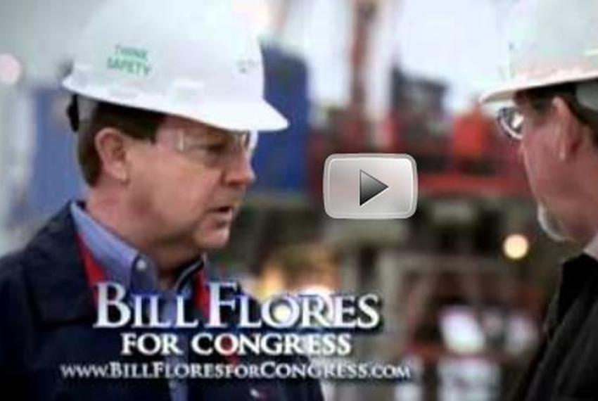 Screen shot from Bill Flores ad