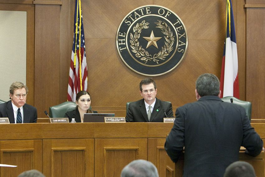 Rep. Dan Branch R-Dallas, clerk Laura Collins and Rep. Brandon Creighton R-Conroe listen to testimony during State Sovereignty Committee. March 17th, 2011