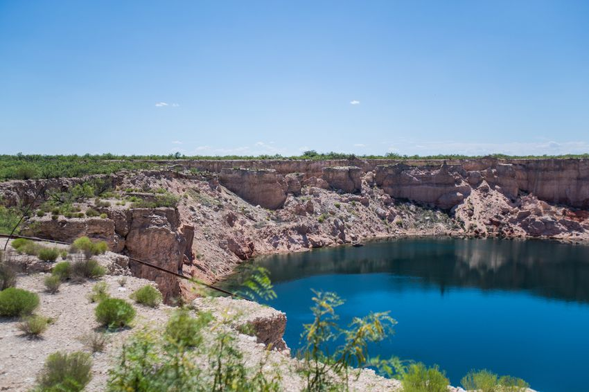 Wink Sink No. 2 formed in 2002 around a well that once supplied water for drillers on the the Hendrick Oilfield. The larger of Winkler County's two sinkholes, it measures 900 feet across at its widest point.