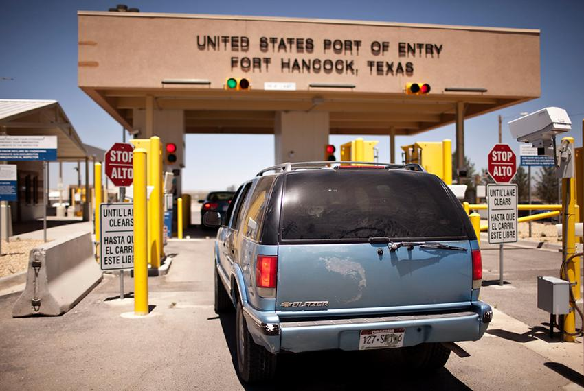 A driver from Chihuahua, Mexico, waits to cross the border into Fort Hancock in rural Hudspeth County.