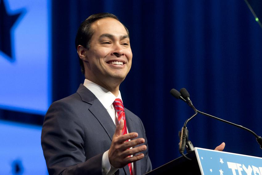 U.S. Secretary of Labor and former San Antonio Mayor Julián Castro gives the keynote speech at the Alamodome on June 17, 201…