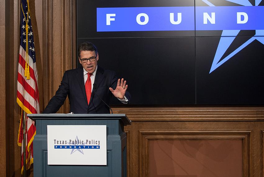 Former Gov. Rick Perry speaks at the Texas Public Policy Foundation in Austin hours after the state's highest criminal cou...