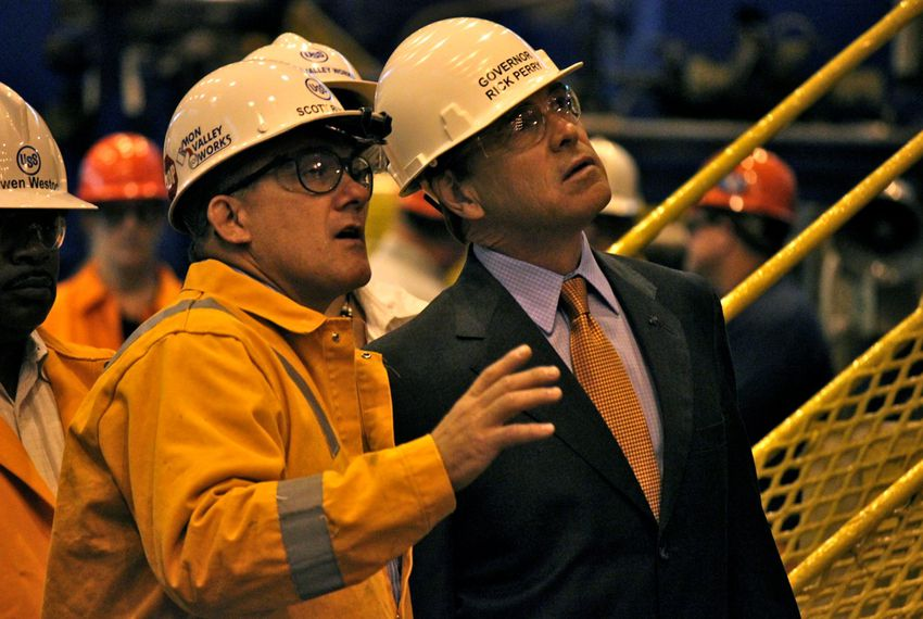 Gov. Rick Perry tours a steel mill in West Mifflin, Pa. before giving a speech there on Oct. 14.