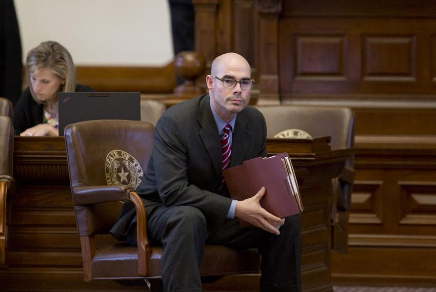 State Rep. Dennis Bonnen, R-Angleton, sits alone before discussion of the property tax bill on August 14, 2017.