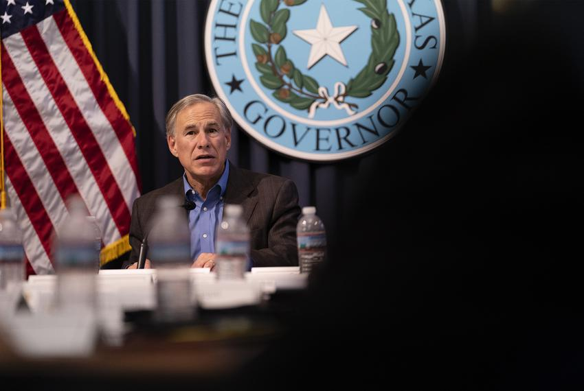 Gov. Greg Abbott holds a border security briefing with sheriffs from border communities at the Texas Capitol on July 10, 202…