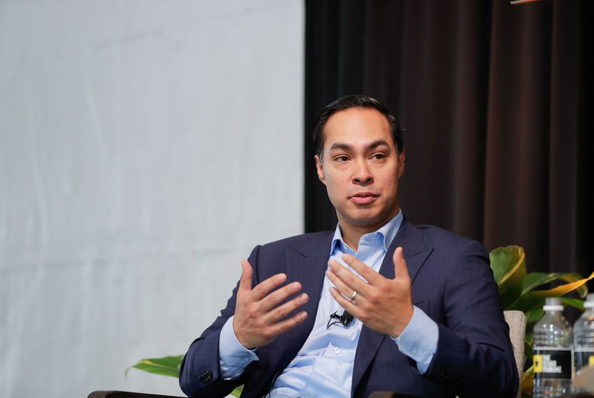 Former U.S. Secretary of Housing and Urban Development Julián Castro speaks with Tribune Editor-in-Chief Emily Ramshaw at The Texas Tribune Festival on Sept. 29, 2018.