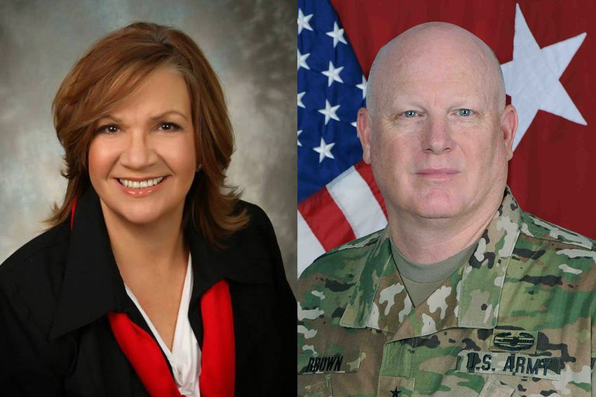 """State Rep. Molly S. White, R-Belton, and Major General James K. """"Red"""" Brown Jr."""