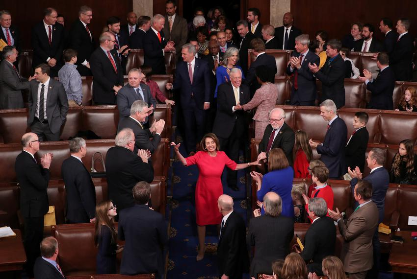 U.S. Rep. Nancy Pelosi, D-CA, is applauded after being elected House speaker at the start of the 116th Congress, on Capitol …