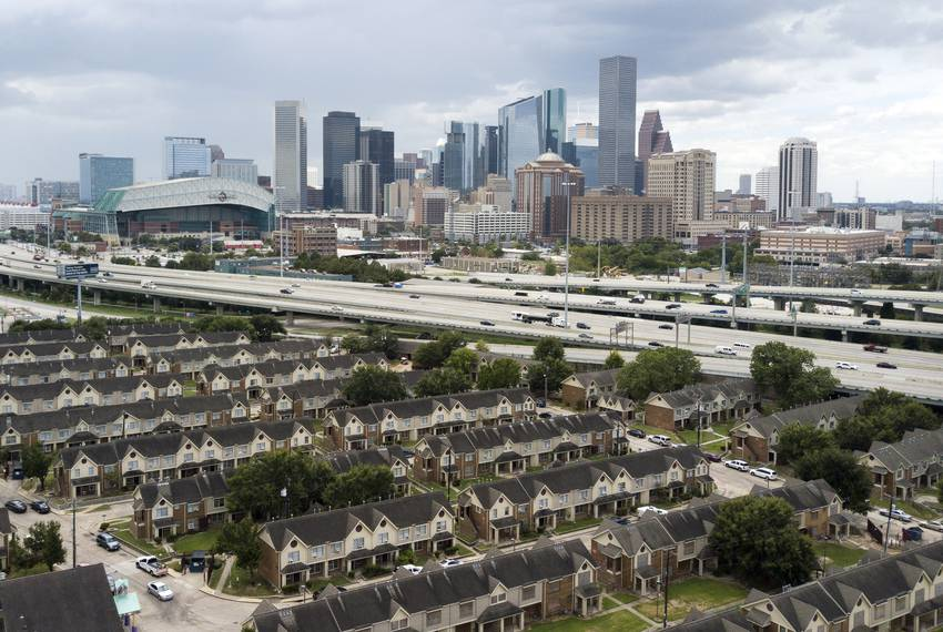 An aerial view of the Clayton Homes complex near I-45 in Houston on Sept. 16, 2019.