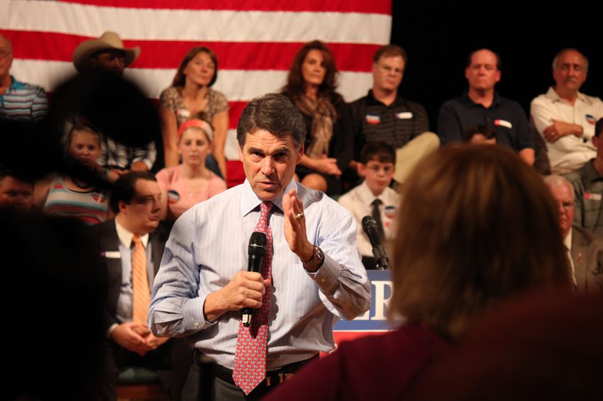 Rick Perry at a Derry, N.H., town hall event on Sept. 30, 2011