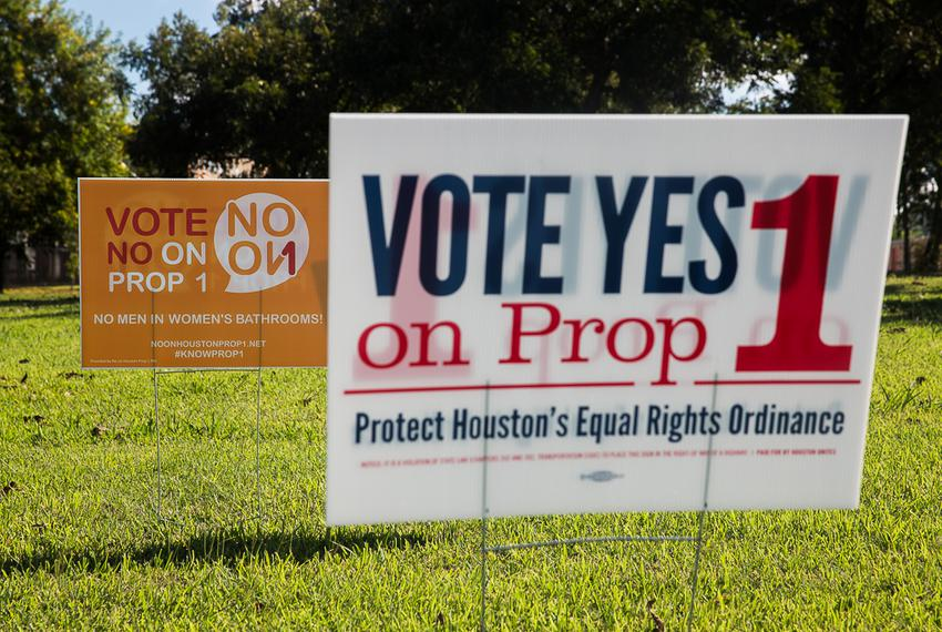 Prop 1 signs posted along the Adaptive Sports and Recreation facility on West Grey in Houston, TX for the November 2015 elec…