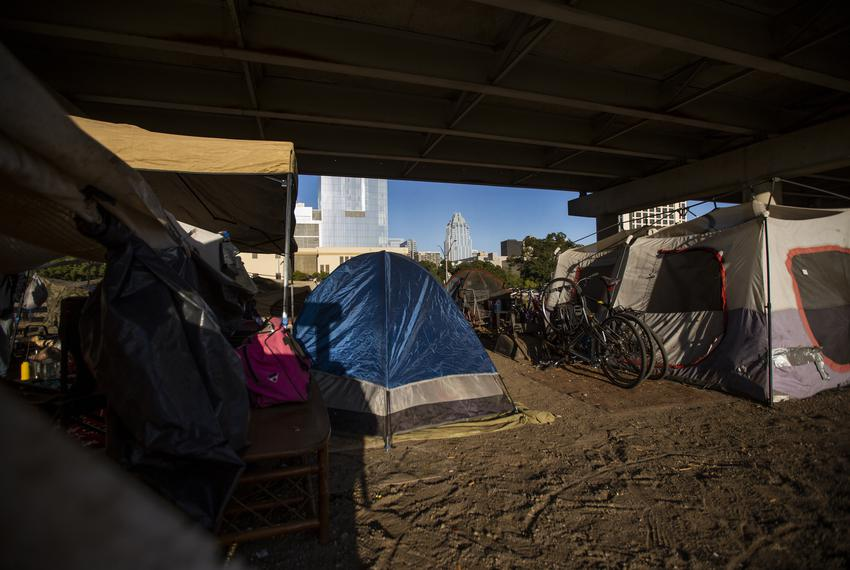 An encampment site underneath the Interstate 35 overpass in Austin on Oct. 23, 2019.
