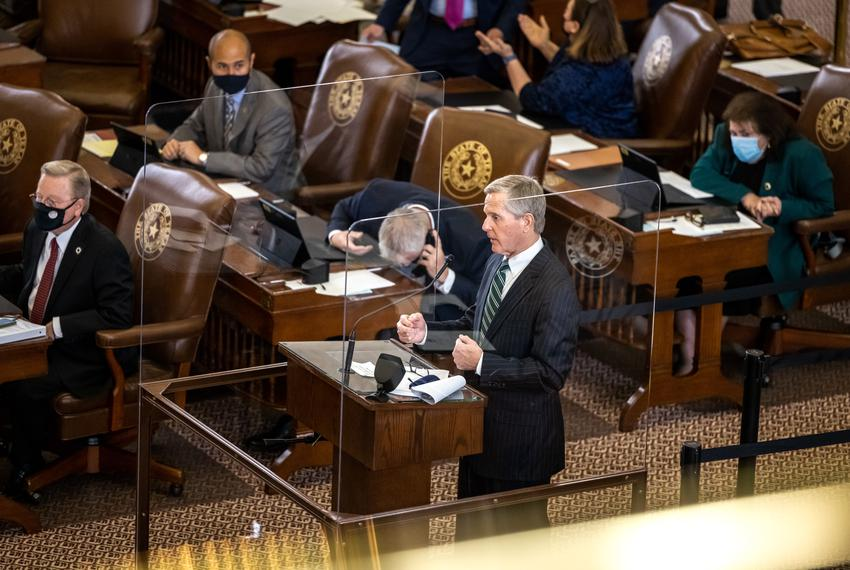 State Rep. Phil King, R-Weatherford, questions a fellow lawmaker regarding a proposed amendment to HB 10 on March 30, 2021.