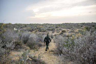 Border Patrol Agent Jose Ramirez makes his way through harsh terrain to observe illegal crossings along the Rio Grande near Roma, Texas.