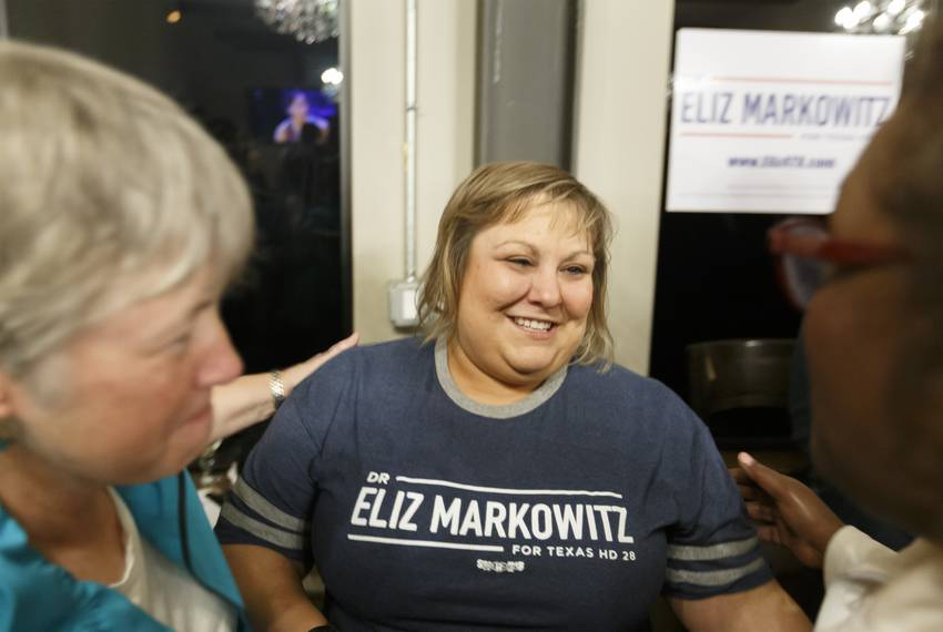 Democratic Texas House District 28 candidate Eliz Markowitz greets supporters at election night watch party in Katy on Tue...