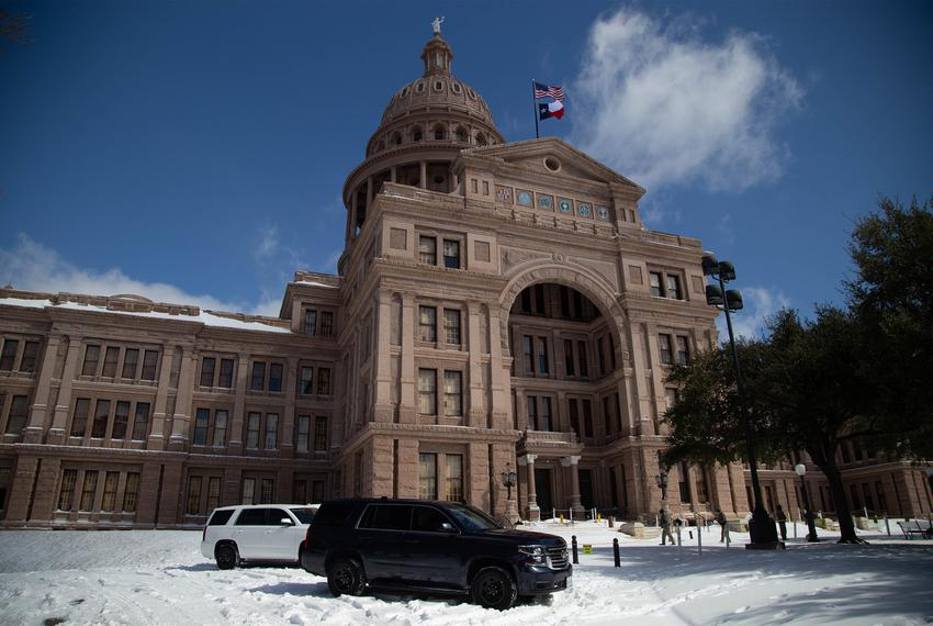 Snow at the Capitol in Austin on Feb. 15, 2021.