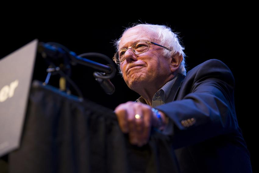 Former presidential candidate and Vermont Sen. Bernie Sanders speaks at the Verizon Theater in Grand Prairie on April 19, ...