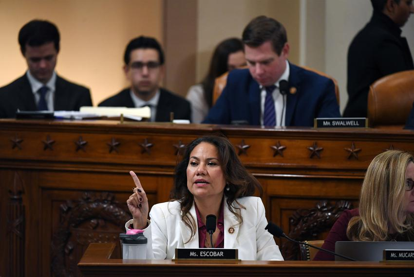 U.S. Rep. Veronica Escobar, D-El Paso, speaks during a House Judiciary Committee markup of Articles of Impeachment against...